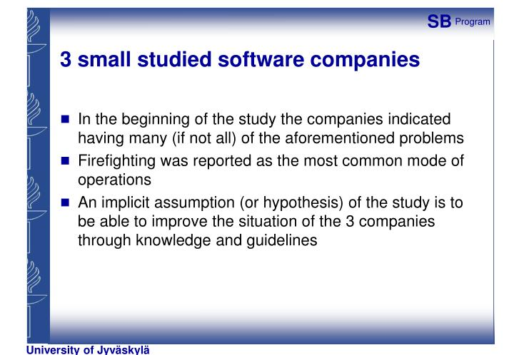 3 small studied software companies