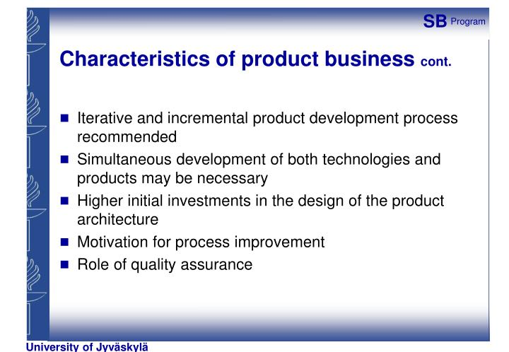 Characteristics of product business