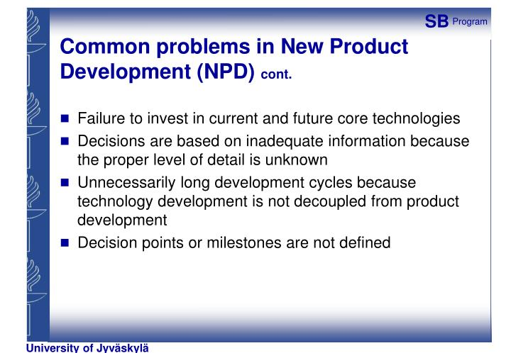 Common problems in New Product Development (NPD)