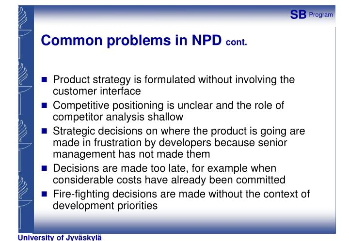 Common problems in NPD