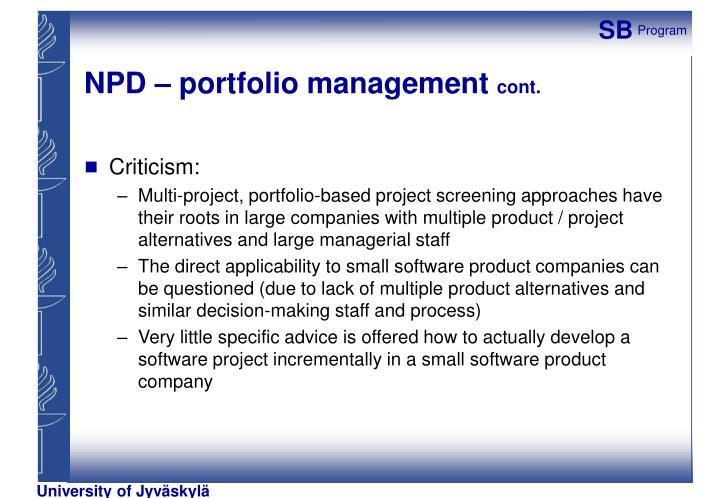 NPD – portfolio management