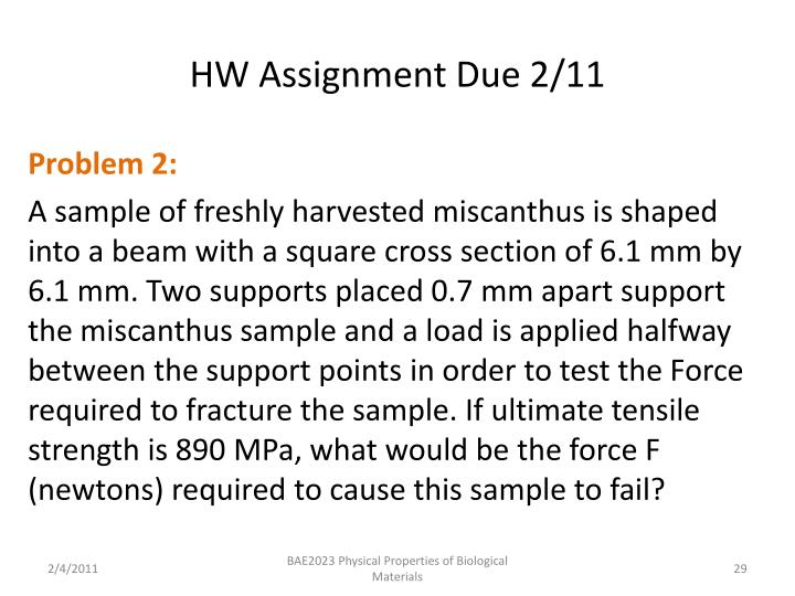 HW Assignment Due