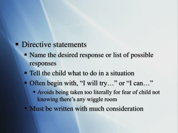 Directive statements