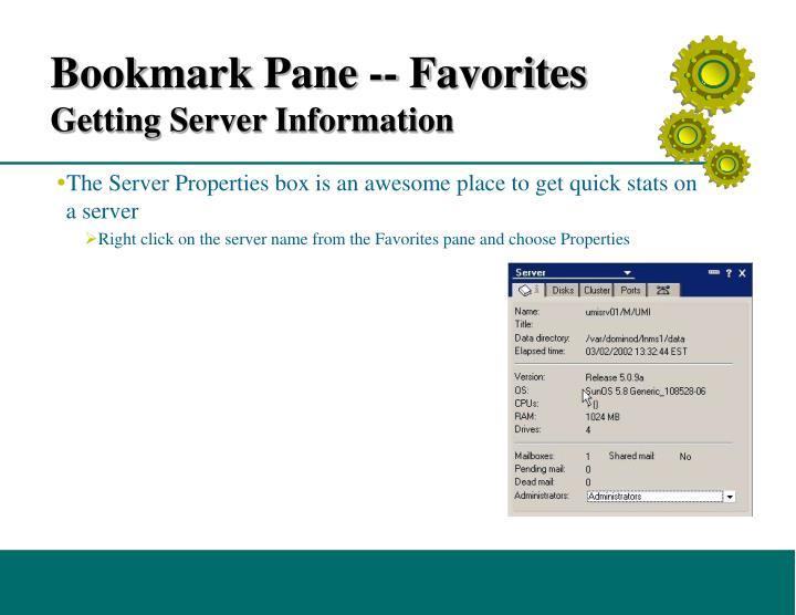 Bookmark Pane -- Favorites