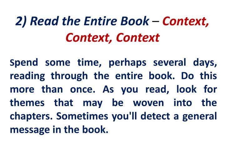 2) Read the Entire Book