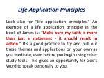 life application principles