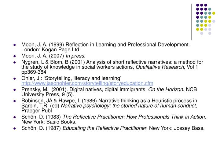Moon, J. A. (1999) Reflection in Learning and Professional Development. London: Kogan Page Ltd.