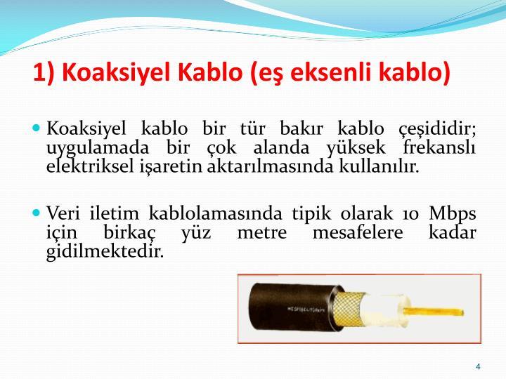 1) Koaksiyel Kablo (eş eksenli kablo)