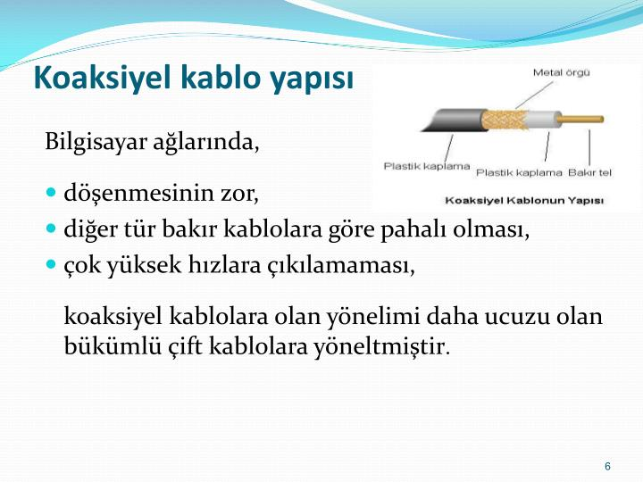 Koaksiyel kablo yapısı