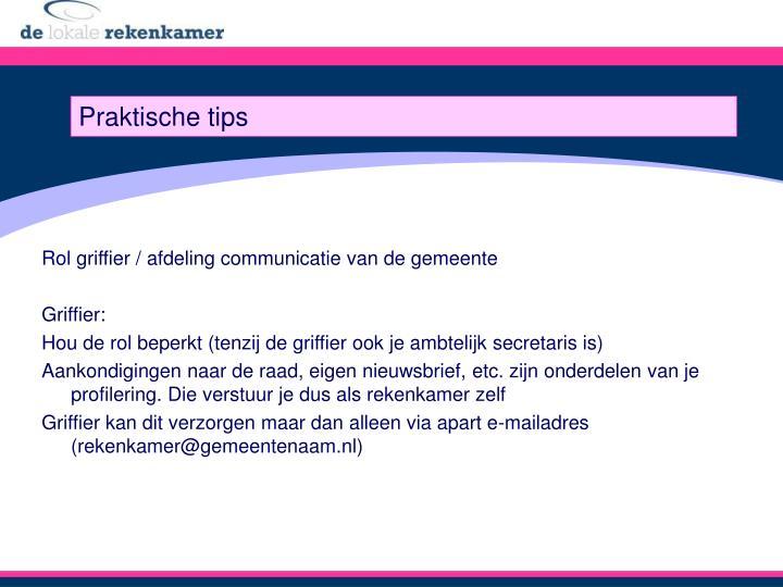 Rol griffier / afdeling communicatie van de gemeente