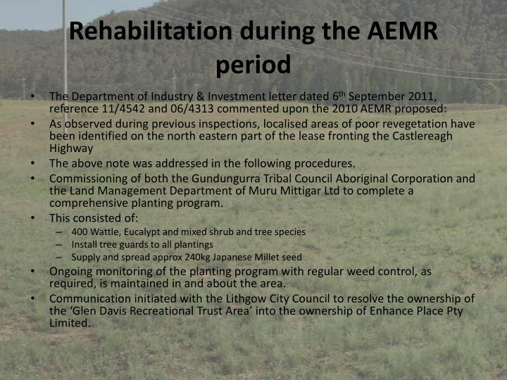 Rehabilitation during the AEMR period
