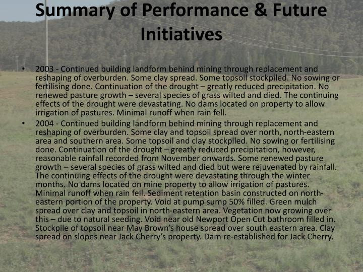 Summary of Performance & Future Initiatives