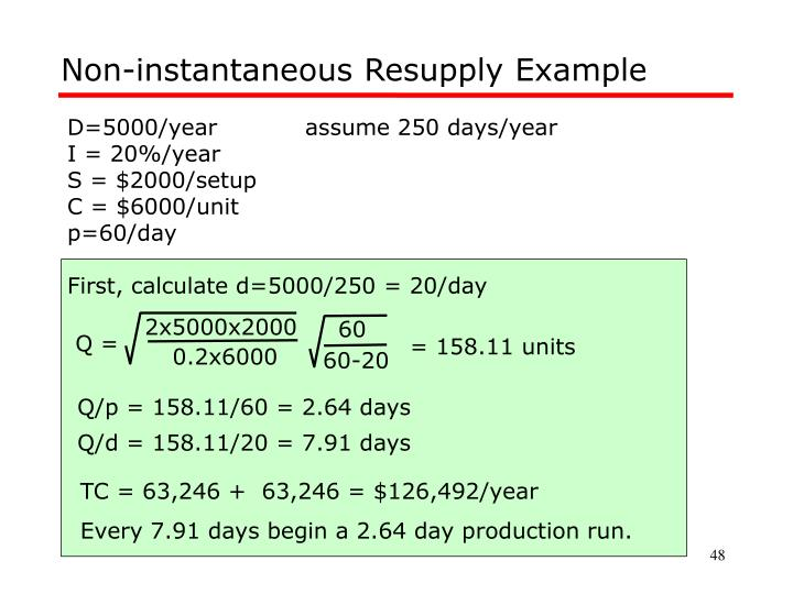 Non-instantaneous Resupply Example