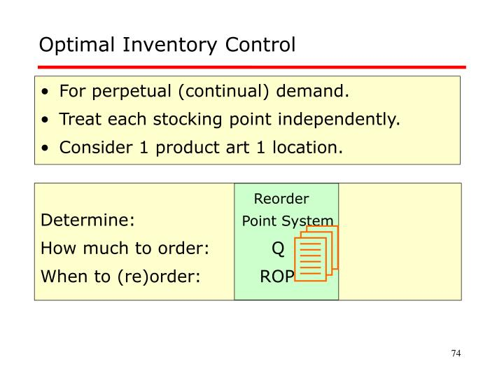 Optimal Inventory Control