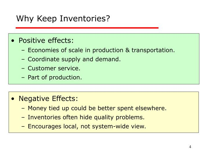 Why Keep Inventories?
