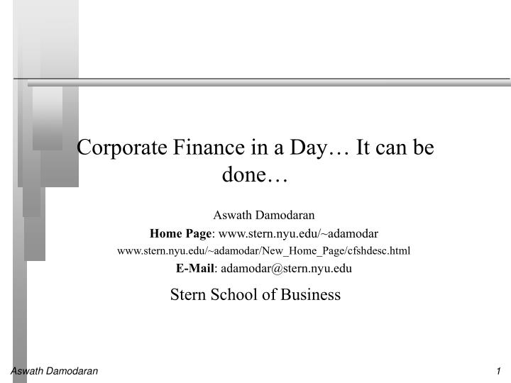 Corporate finance in a day it can be done