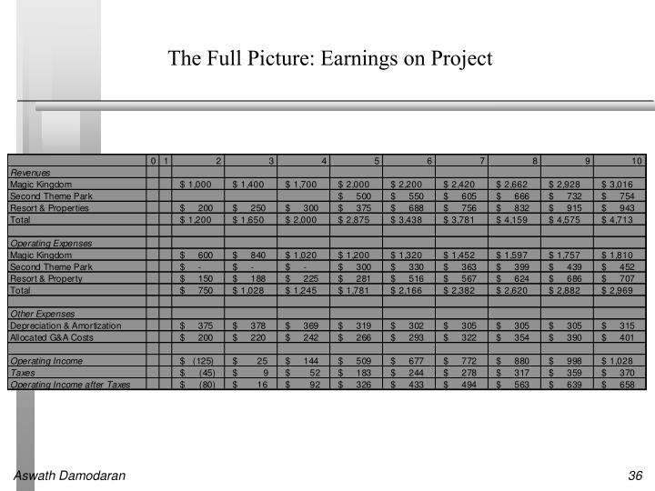The Full Picture: Earnings on Project