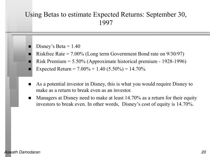 Using Betas to estimate Expected Returns: September 30, 1997