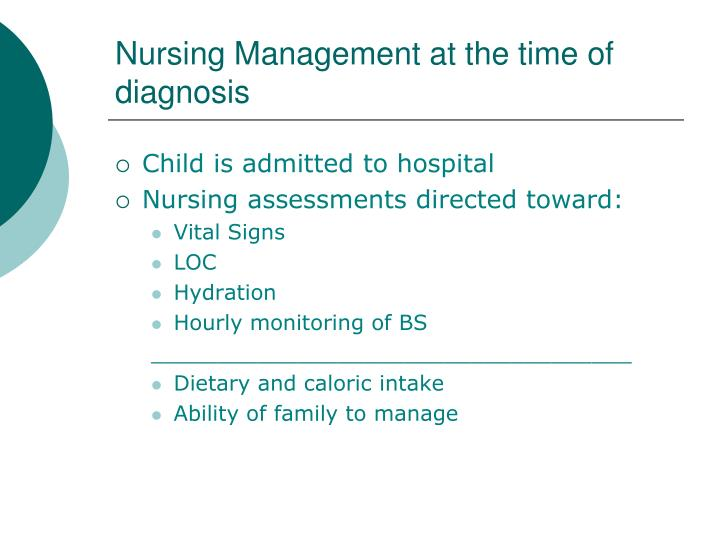 Nursing Management at the time of diagnosis
