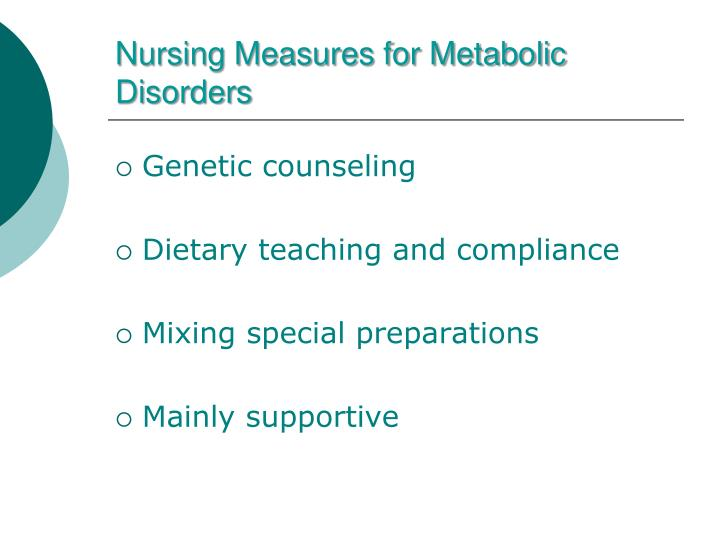 Nursing Measures for Metabolic Disorders