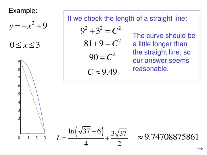 If we check the length of a straight line: