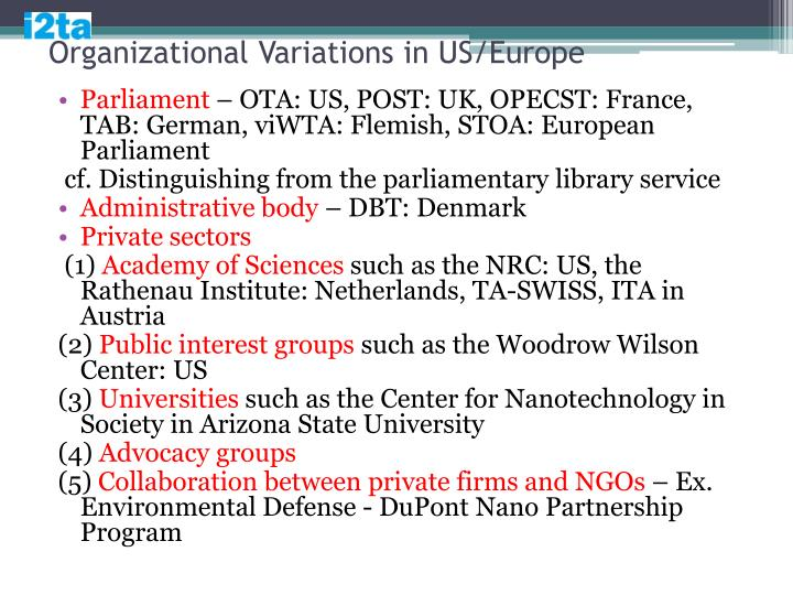 Organizational Variations in US/Europe