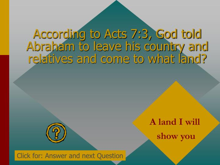 According to Acts 7:3, God told Abraham to leave his country and relatives and come to what land?
