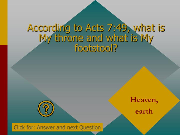 According to Acts 7:49, what is My throne and what is My footstool?