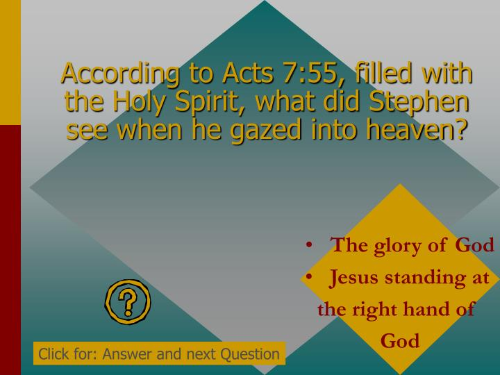 According to Acts 7:55, filled with the Holy Spirit, what did Stephen see when he gazed into heaven?