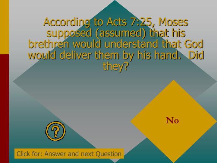 According to Acts 7:25, Moses supposed (assumed) that his brethren would understand that God would deliver them by his hand.  Did they?