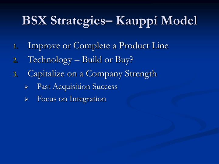 BSX Strategies– Kauppi Model