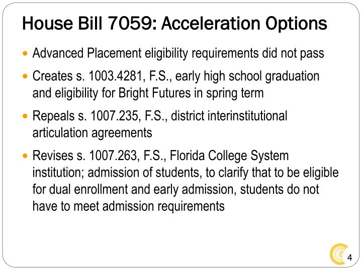 House Bill 7059: Acceleration Options