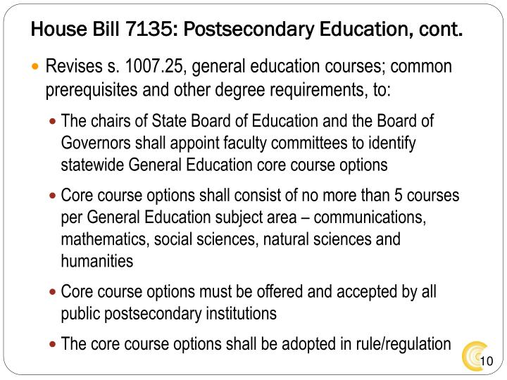 House Bill 7135: Postsecondary Education, cont.