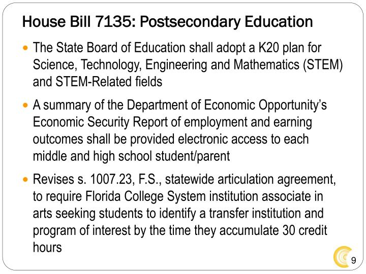 House Bill 7135: Postsecondary Education