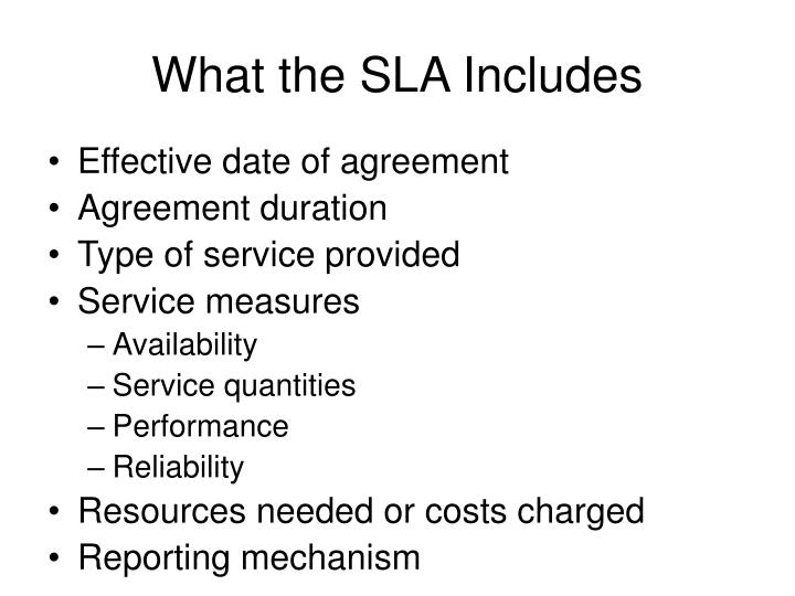 What the SLA Includes