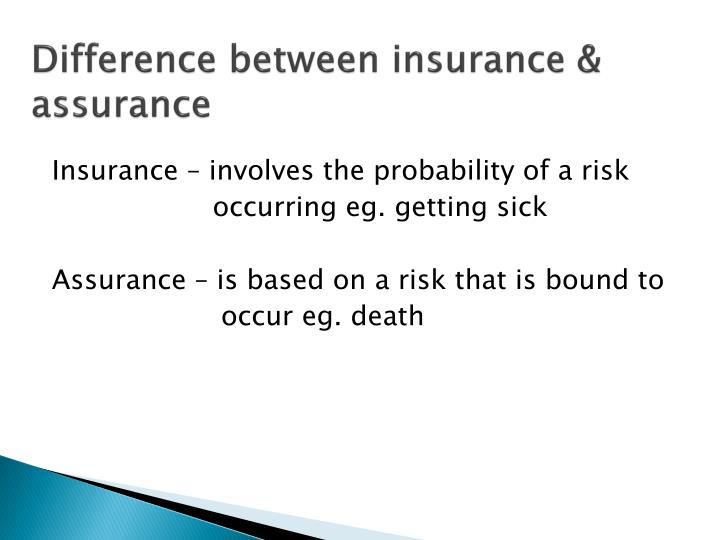 Difference between insurance & assurance