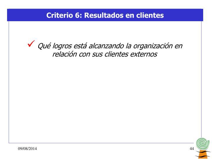 Criterio 6: Resultados en clientes