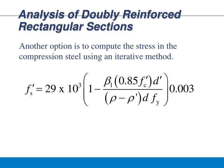 Analysis of Doubly Reinforced Rectangular Sections