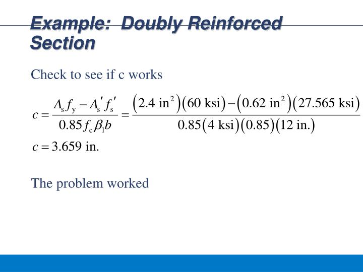 Example:  Doubly Reinforced Section