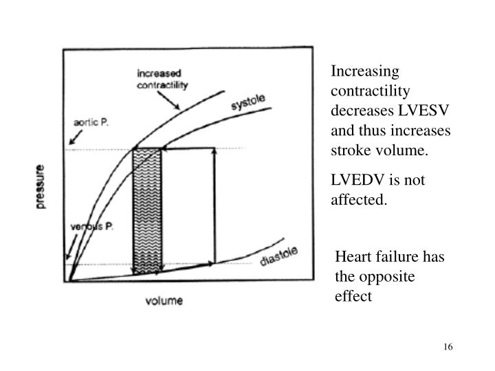 Increasing contractility decreases LVESV and thus increases stroke volume.