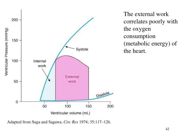 The external work correlates poorly with the oxygen consumption (metabolic energy) of the heart.