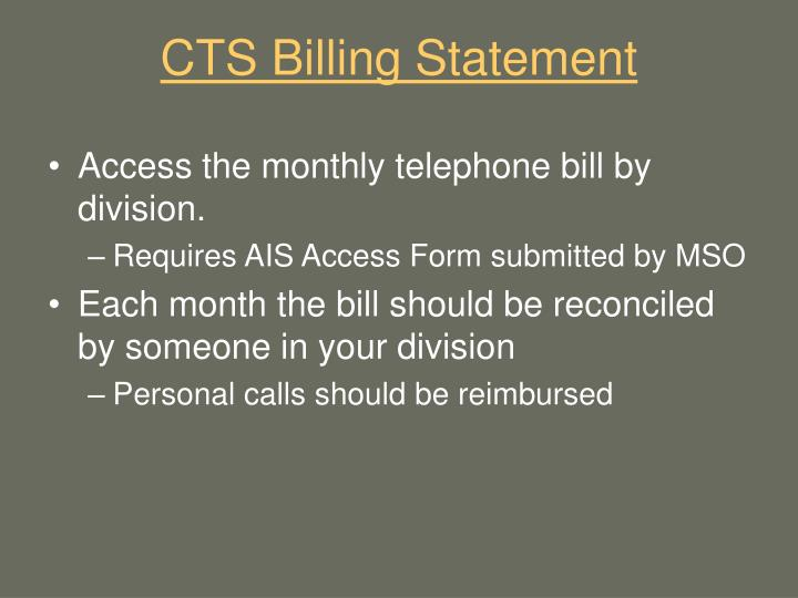CTS Billing Statement