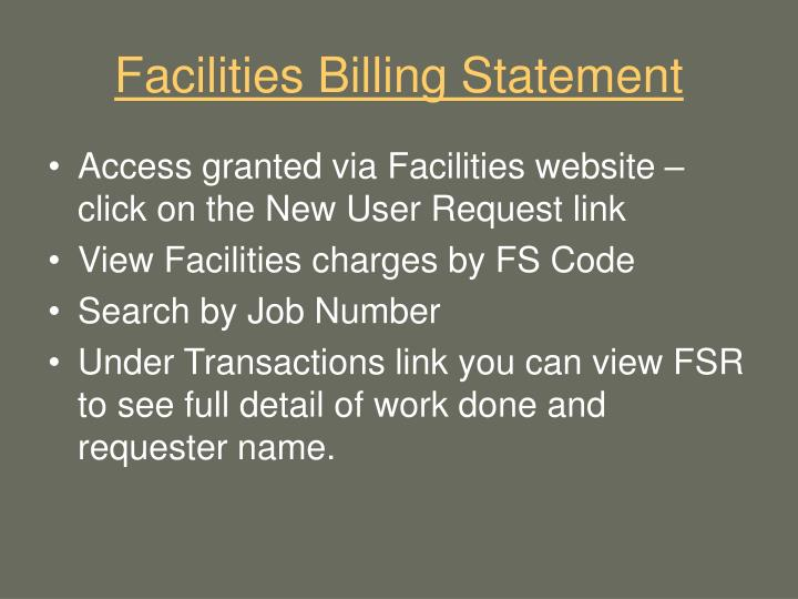 Facilities Billing Statement