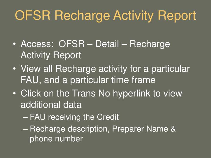 OFSR Recharge Activity Report