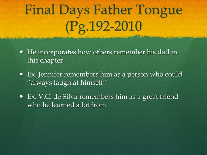 Final Days Father Tongue (Pg.192-2010