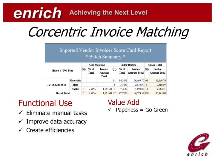 Corcentric Invoice Matching