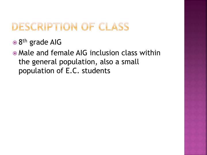Description of class