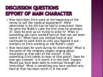 discussion questions effort of main character
