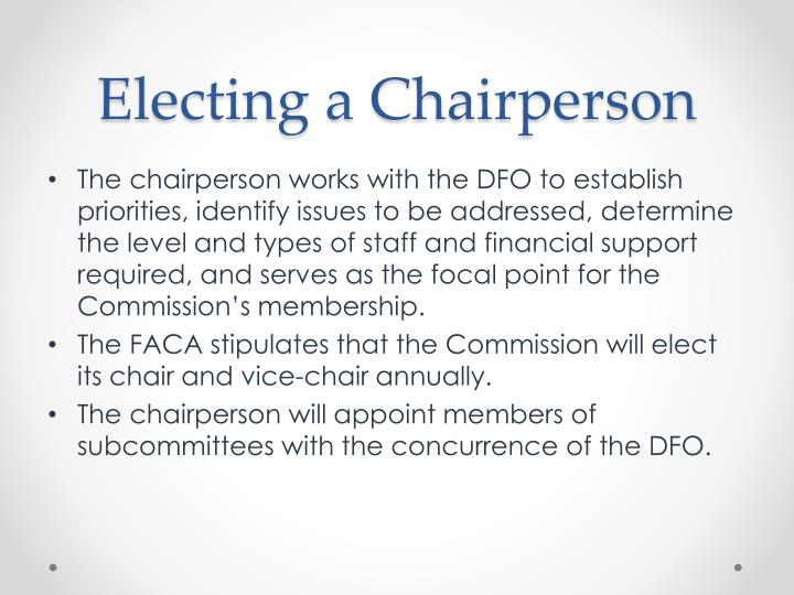 Electing a Chairperson