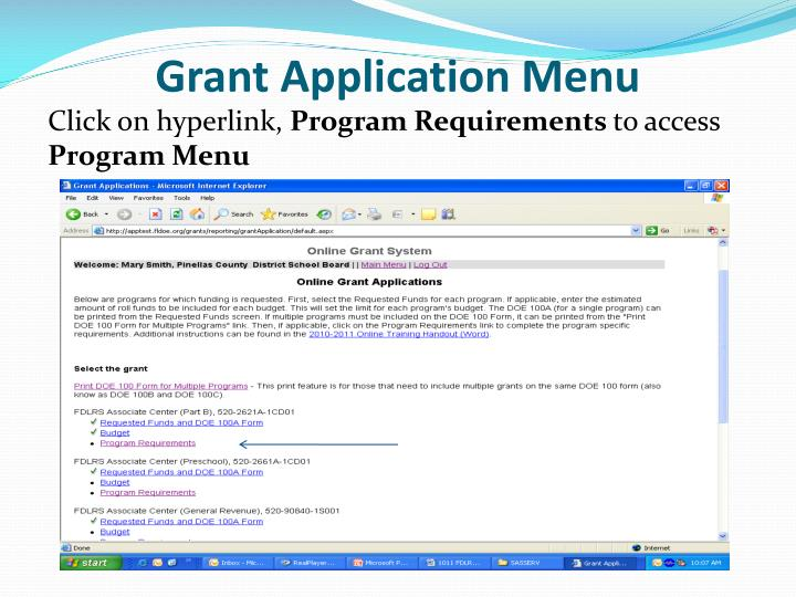 Grant Application Menu